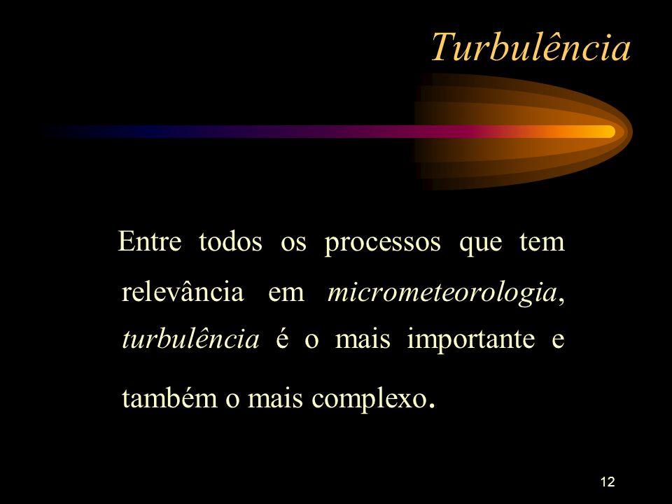 12 Turbulência Entre todos os processos que tem relevância em micrometeorologia, turbulência é o mais importante e também o mais complexo.