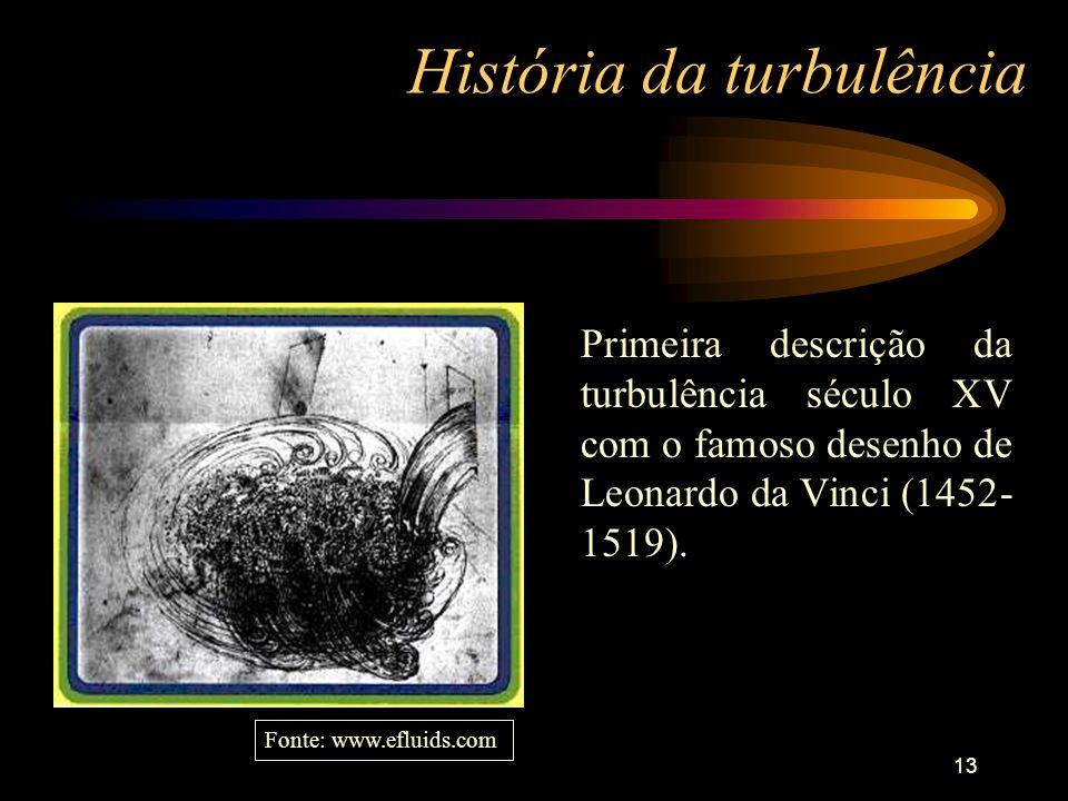 13 História da turbulência Primeira descrição da turbulência século XV com o famoso desenho de Leonardo da Vinci (1452- 1519). Fonte: www.efluids.com