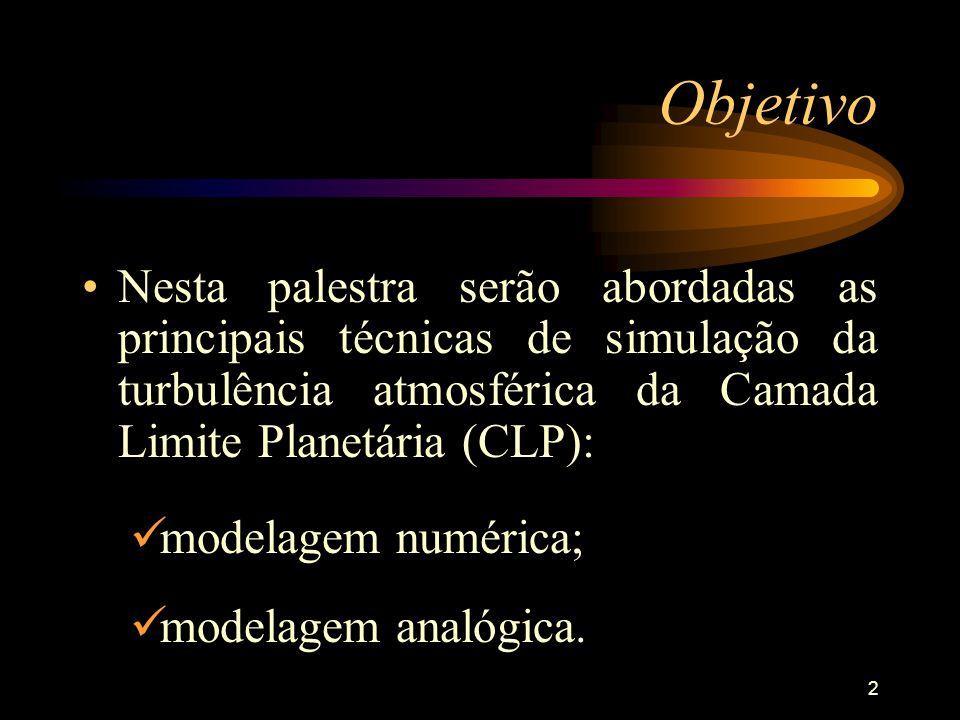 2 Objetivo Nesta palestra serão abordadas as principais técnicas de simulação da turbulência atmosférica da Camada Limite Planetária (CLP): modelagem