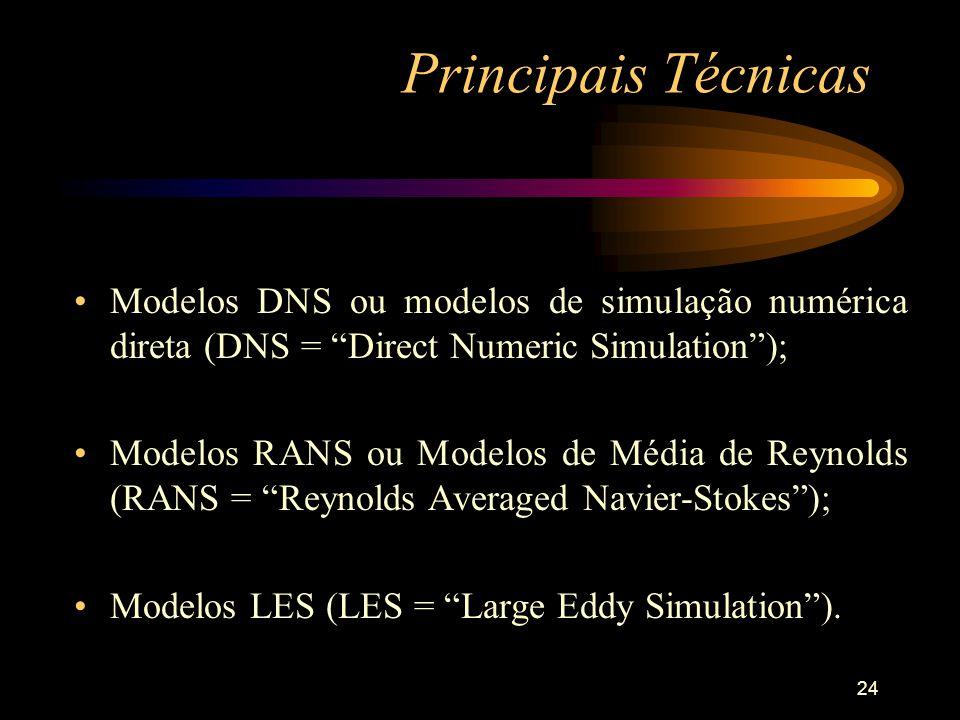 24 Principais Técnicas Modelos DNS ou modelos de simulação numérica direta (DNS = Direct Numeric Simulation); Modelos RANS ou Modelos de Média de Reyn
