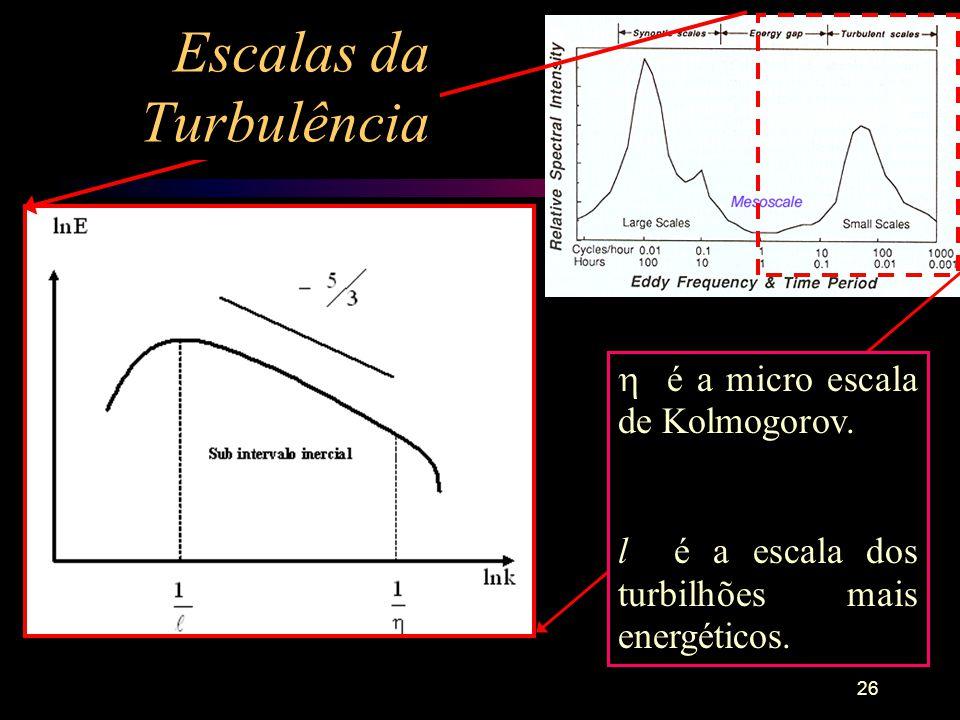 26 é a micro escala de Kolmogorov. l é a escala dos turbilhões mais energéticos. Escalas da Turbulência