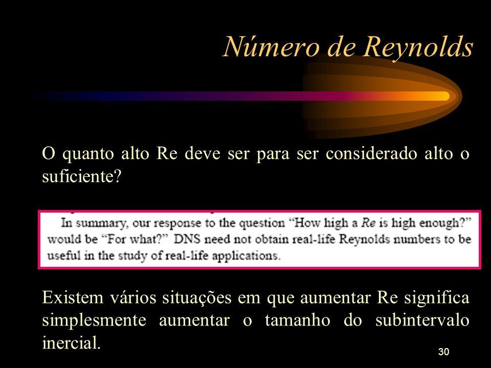 30 Número de Reynolds O quanto alto Re deve ser para ser considerado alto o suficiente? Existem vários situações em que aumentar Re significa simplesm