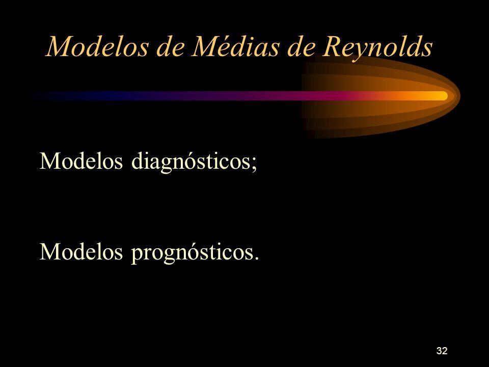 32 Modelos de Médias de Reynolds Modelos diagnósticos; Modelos prognósticos.