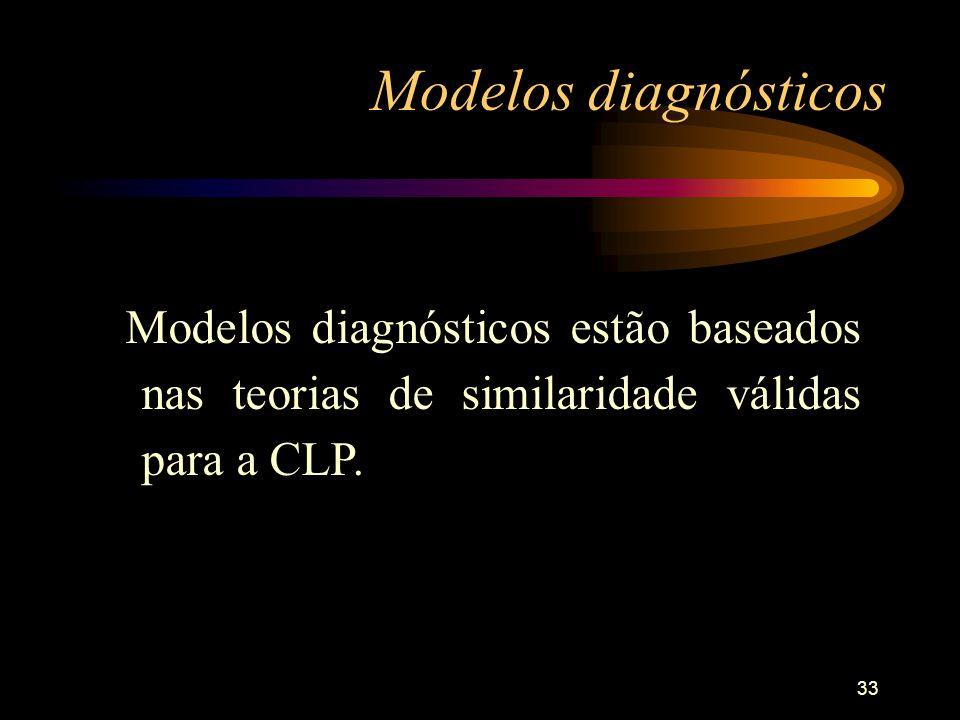 33 Modelos diagnósticos Modelos diagnósticos estão baseados nas teorias de similaridade válidas para a CLP.