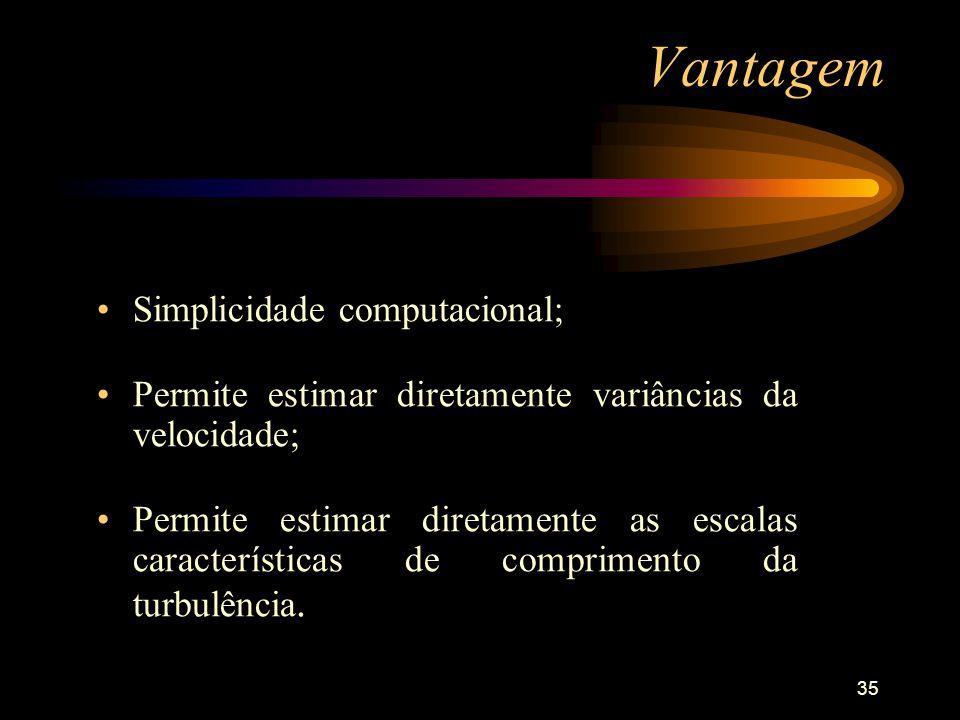 35 Vantagem Simplicidade computacional; Permite estimar diretamente variâncias da velocidade; Permite estimar diretamente as escalas características d