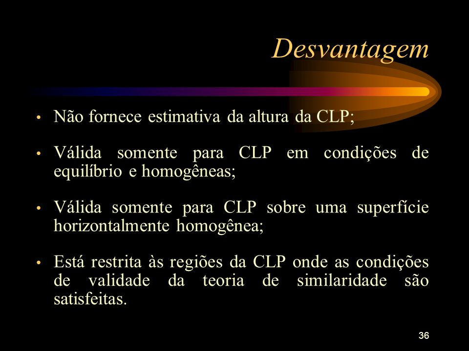 36 Não fornece estimativa da altura da CLP; Válida somente para CLP em condições de equilíbrio e homogêneas; Válida somente para CLP sobre uma superfí