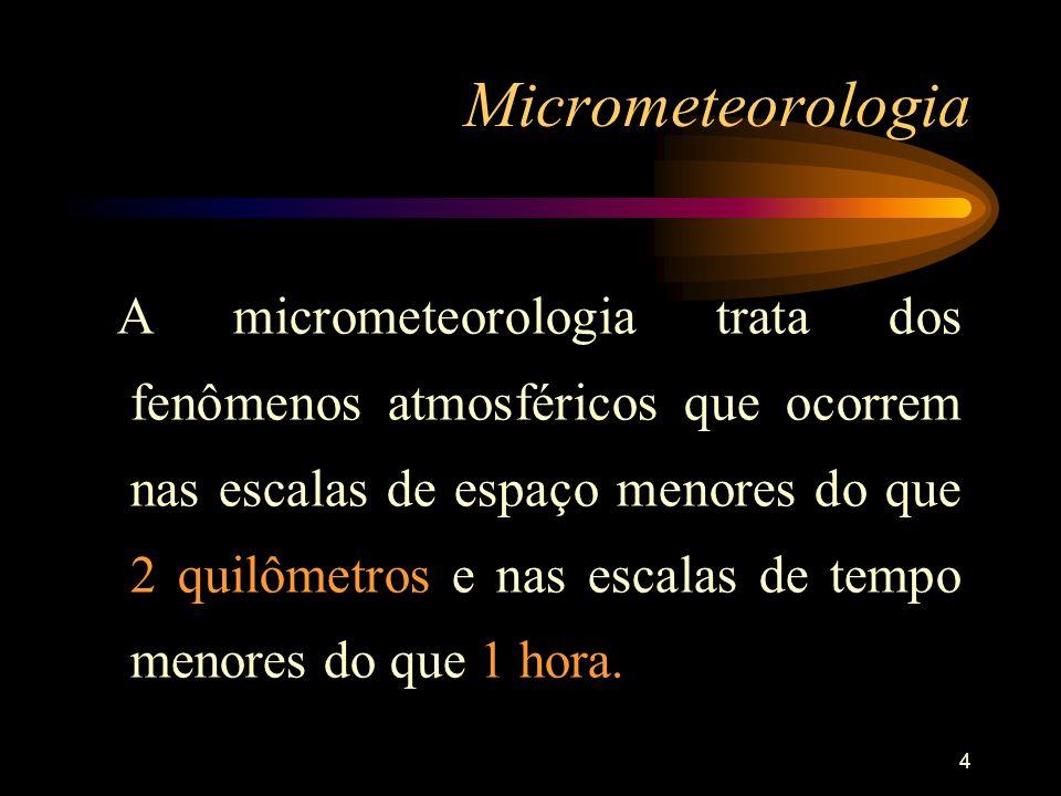 4 Micrometeorologia A micrometeorologia trata dos fenômenos atmosféricos que ocorrem nas escalas de espaço menores do que 2 quilômetros e nas escalas