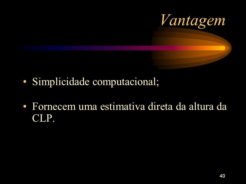 40 Vantagem Simplicidade computacional; Fornecem uma estimativa direta da altura da CLP.