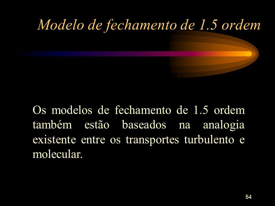 54 Modelo de fechamento de 1.5 ordem Os modelos de fechamento de 1.5 ordem também estão baseados na analogia existente entre os transportes turbulento