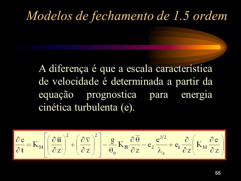 55 Modelos de fechamento de 1.5 ordem A diferença é que a escala característica de velocidade é determinada a partir da equação prognostica para energ