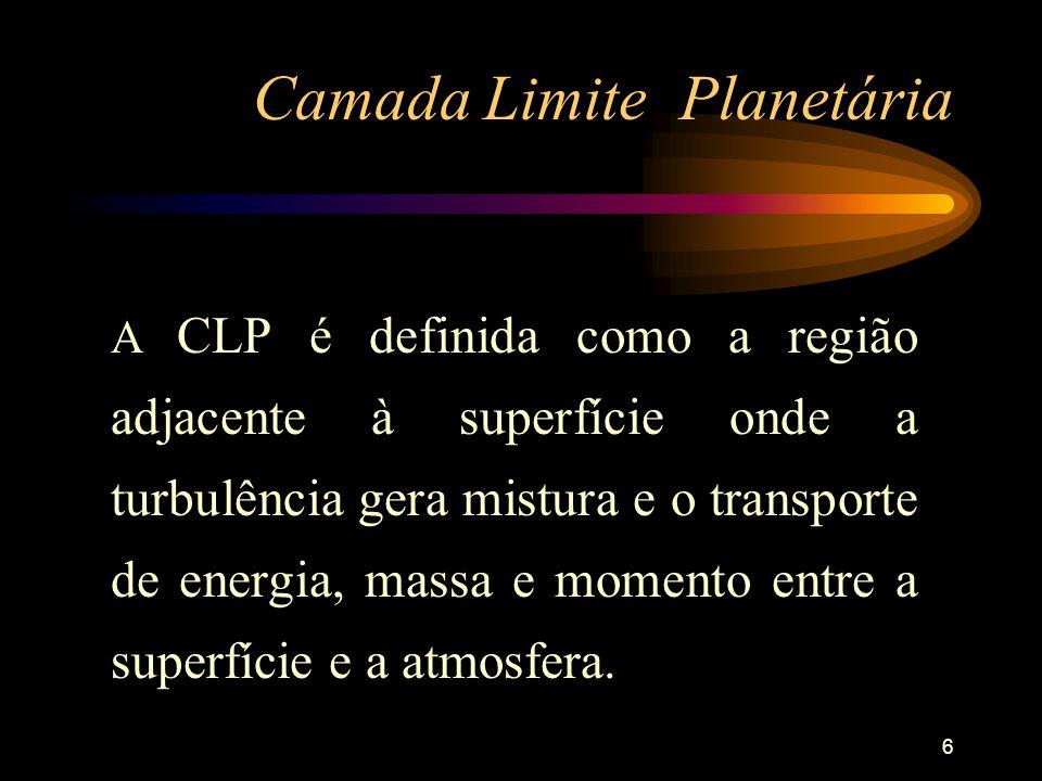 6 Camada Limite Planetária A CLP é definida como a região adjacente à superfície onde a turbulência gera mistura e o transporte de energia, massa e mo