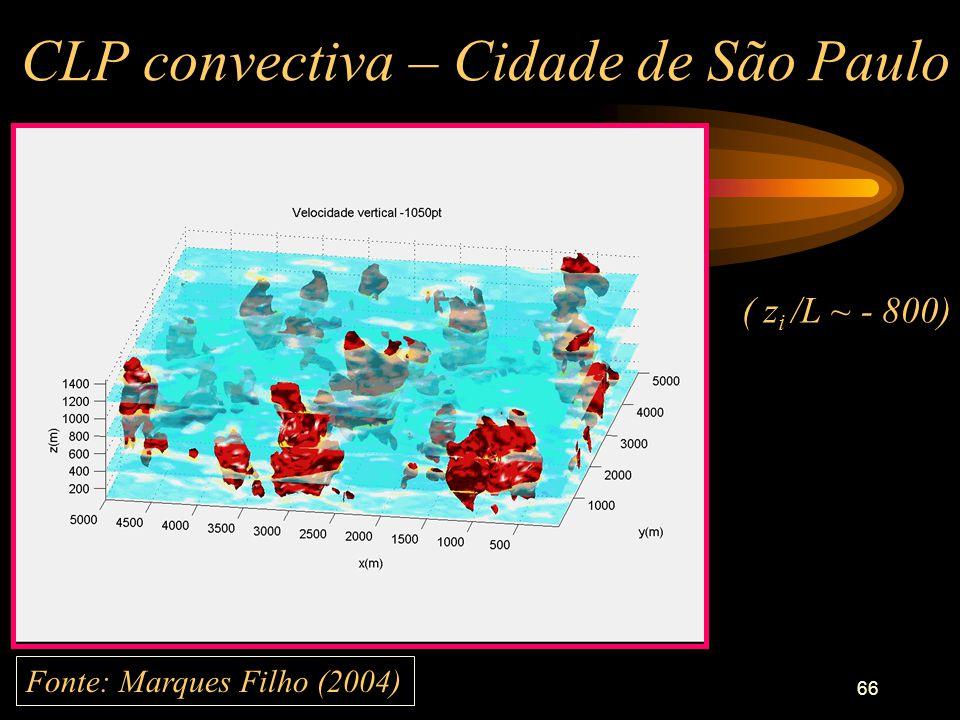 66 CLP convectiva – Cidade de São Paulo Fonte: Marques Filho (2004) ( z i /L ~ - 800)