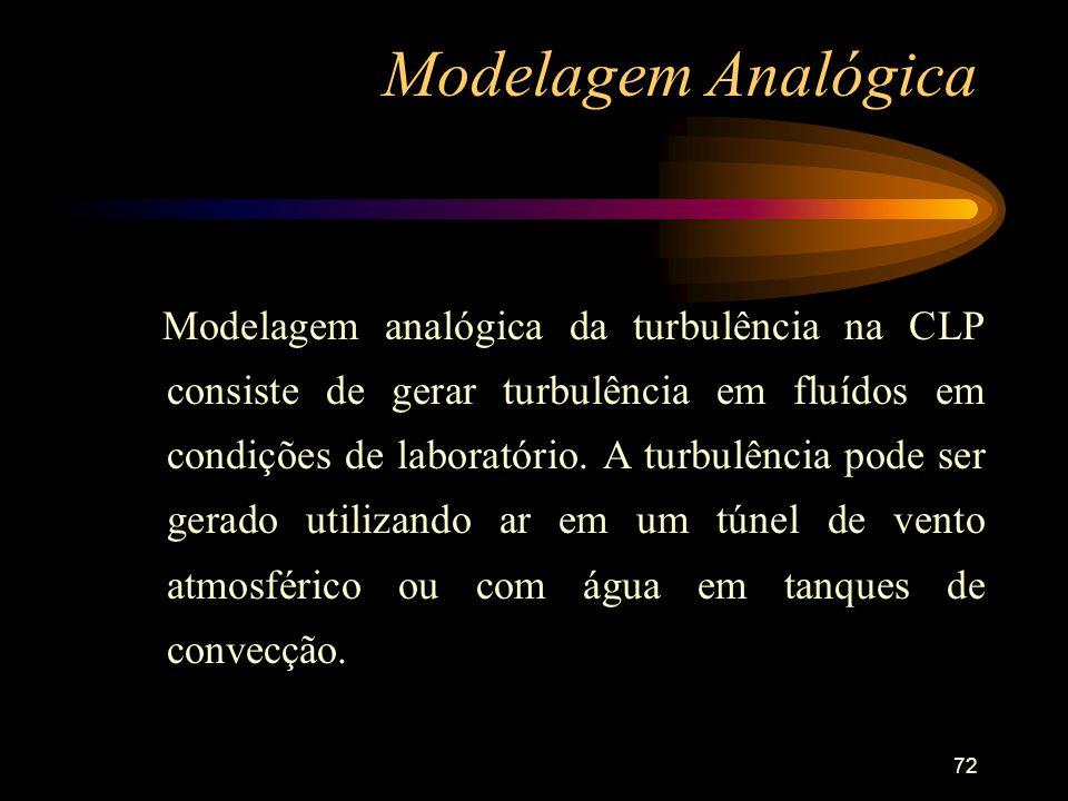 72 Modelagem Analógica Modelagem analógica da turbulência na CLP consiste de gerar turbulência em fluídos em condições de laboratório. A turbulência p