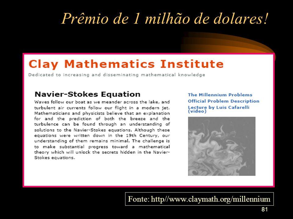 81 Prêmio de 1 milhão de dolares! Fonte: http//www.claymath.org/millennium