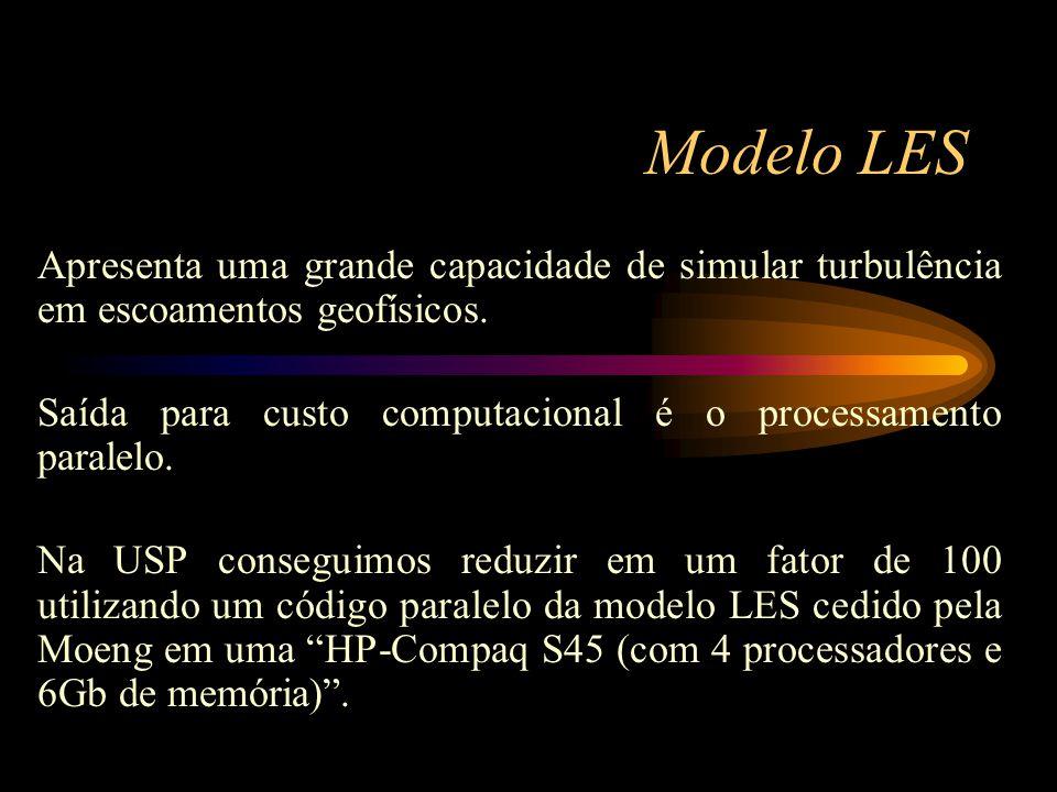 Modelo LES Apresenta uma grande capacidade de simular turbulência em escoamentos geofísicos. Saída para custo computacional é o processamento paralelo