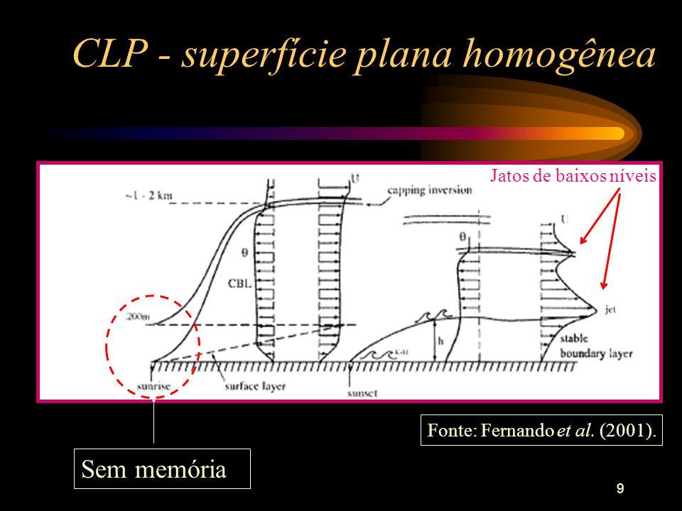 9 CLP - superfície plana homogênea Jatos de baixos níveis Fonte: Fernando et al. (2001). Sem memória