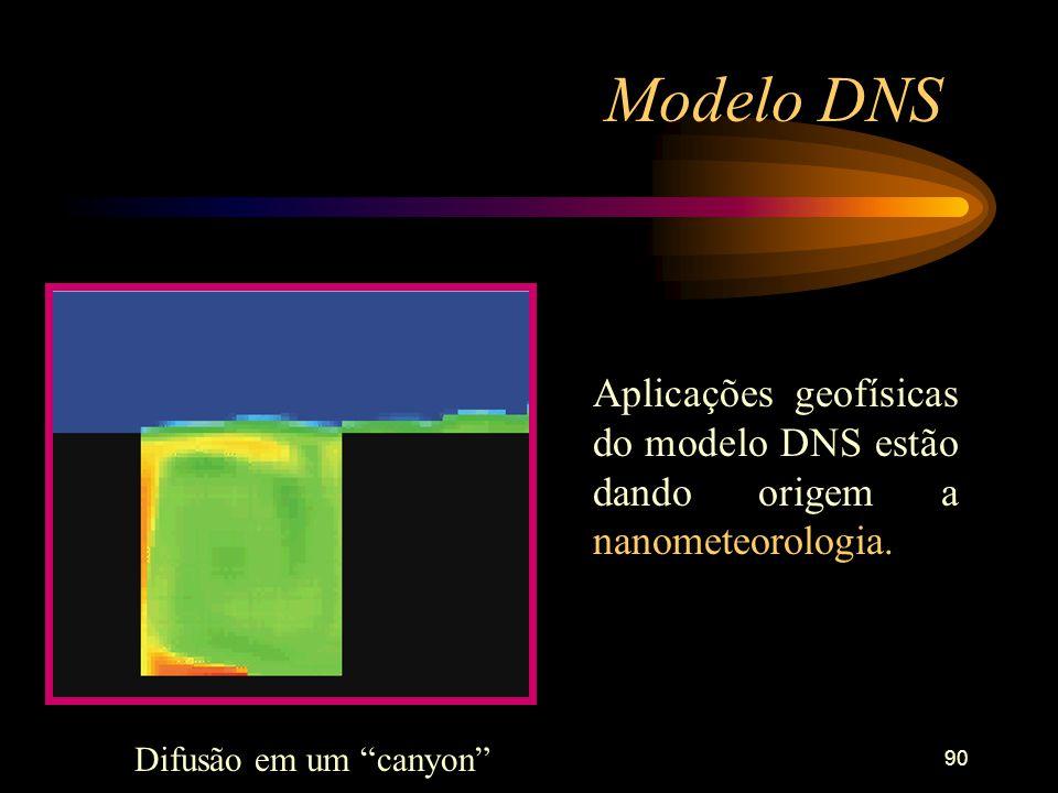 90 Modelo DNS Aplicações geofísicas do modelo DNS estão dando origem a nanometeorologia. Difusão em um canyon