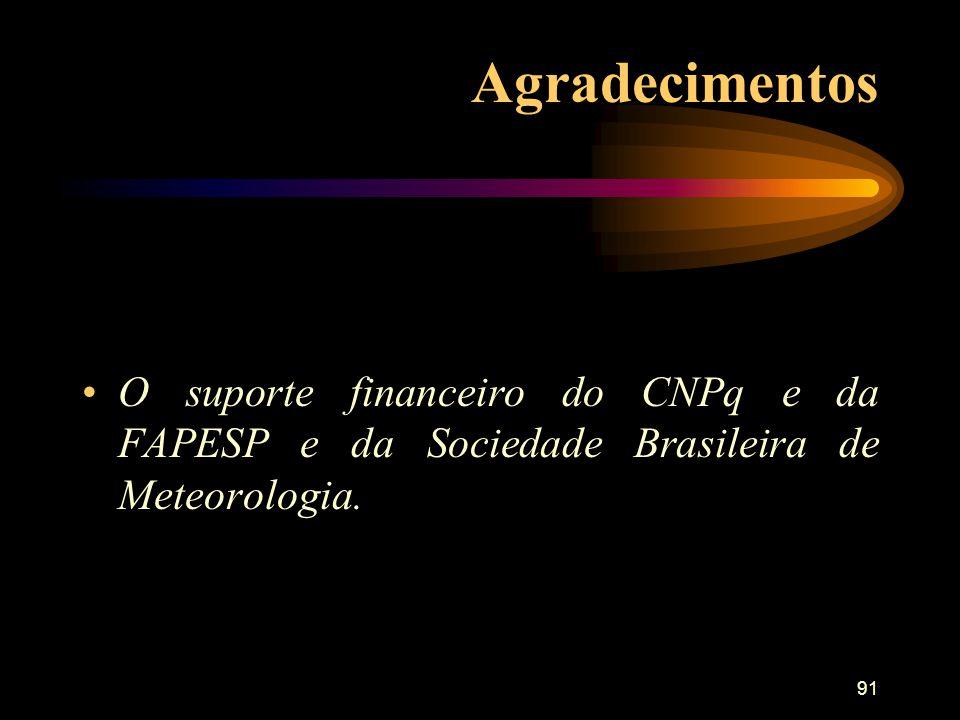 91 Agradecimentos O suporte financeiro do CNPq e da FAPESP e da Sociedade Brasileira de Meteorologia.