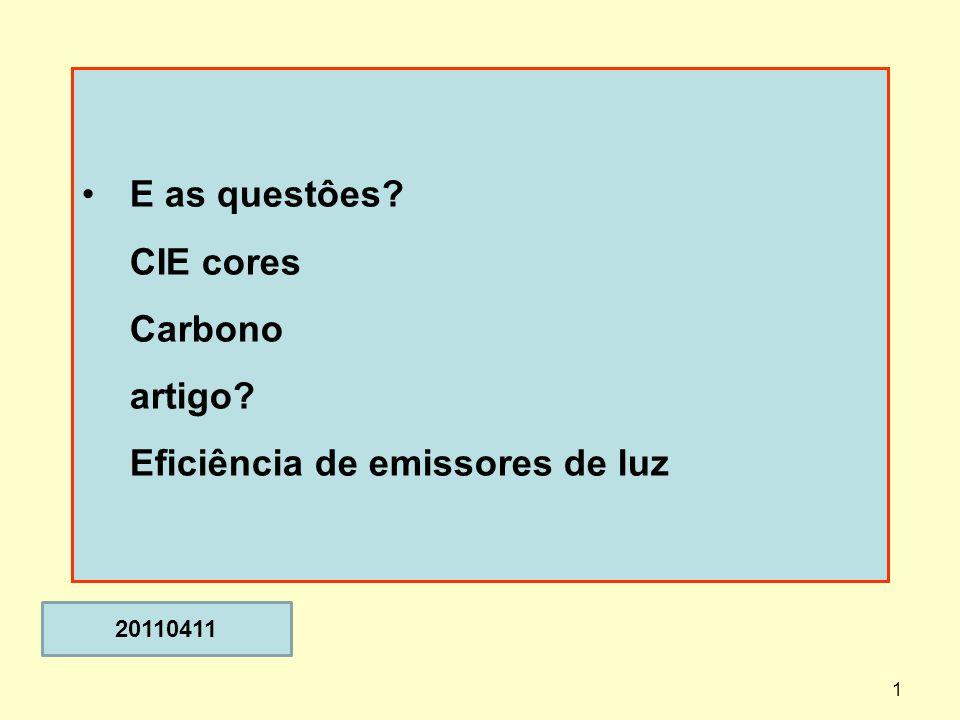 1 E as questôes? CIE cores Carbono artigo? Eficiência de emissores de luz 20110411