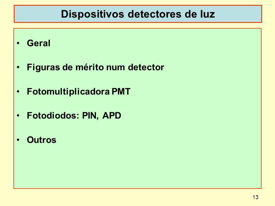 13 Dispositivos detectores de luz Geral Figuras de mérito num detector Fotomultiplicadora PMT Fotodiodos: PIN, APD Outros
