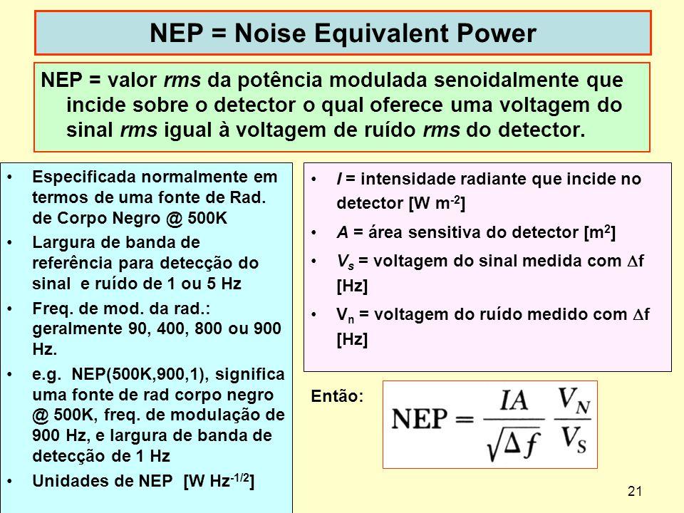 21 NEP = Noise Equivalent Power NEP = valor rms da potência modulada senoidalmente que incide sobre o detector o qual oferece uma voltagem do sinal rm