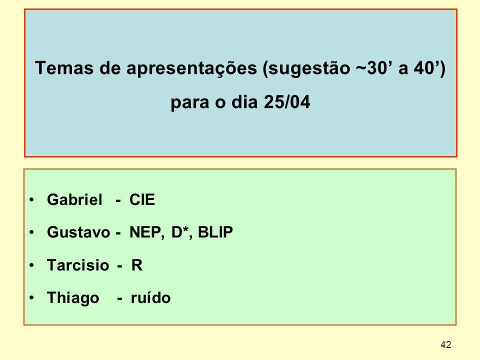 Temas de apresentações (sugestão ~30 a 40) para o dia 25/04 Gabriel - CIE Gustavo - NEP, D*, BLIP Tarcisio - R Thiago - ruído 42