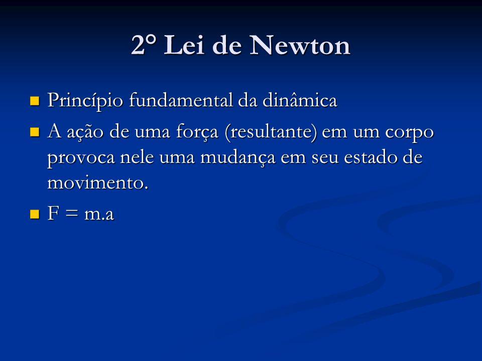 2° Lei de Newton Princípio fundamental da dinâmica Princípio fundamental da dinâmica A ação de uma força (resultante) em um corpo provoca nele uma mud
