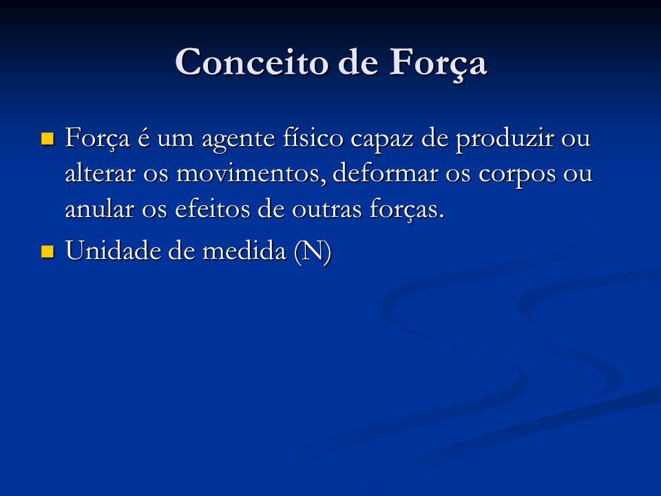 Conceito de Força Força é um agente físico capaz de produzir ou alterar os movimentos, deformar os corpos ou anular os efeitos de outras forças. Força