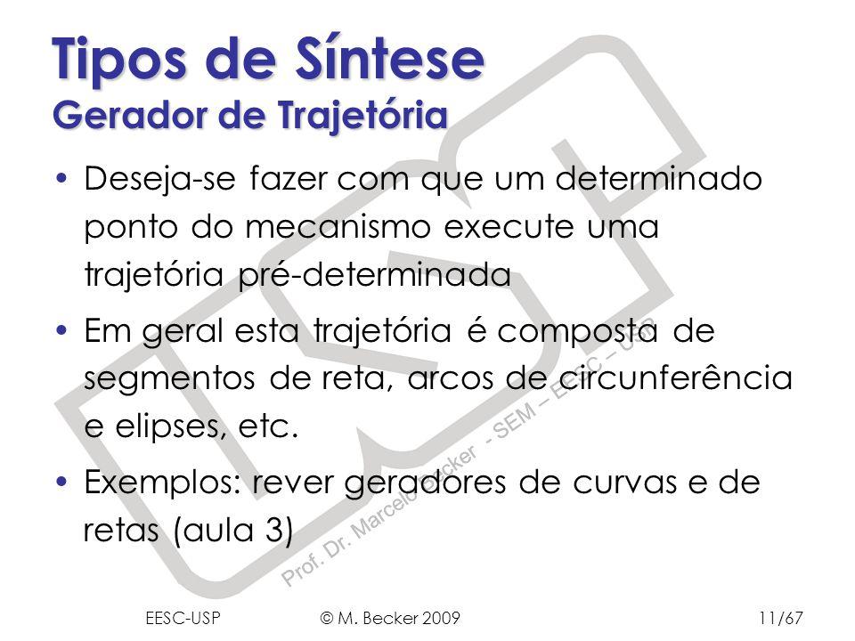 Prof. Dr. Marcelo Becker - SEM – EESC – USP Deseja-se fazer com que um determinado ponto do mecanismo execute uma trajetória pré-determinada Em geral