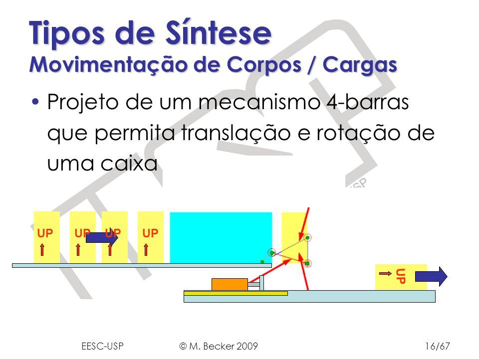 Prof. Dr. Marcelo Becker - SEM – EESC – USP Projeto de um mecanismo 4-barras que permita translação e rotação de uma caixa Tipos de Síntese Movimentaç