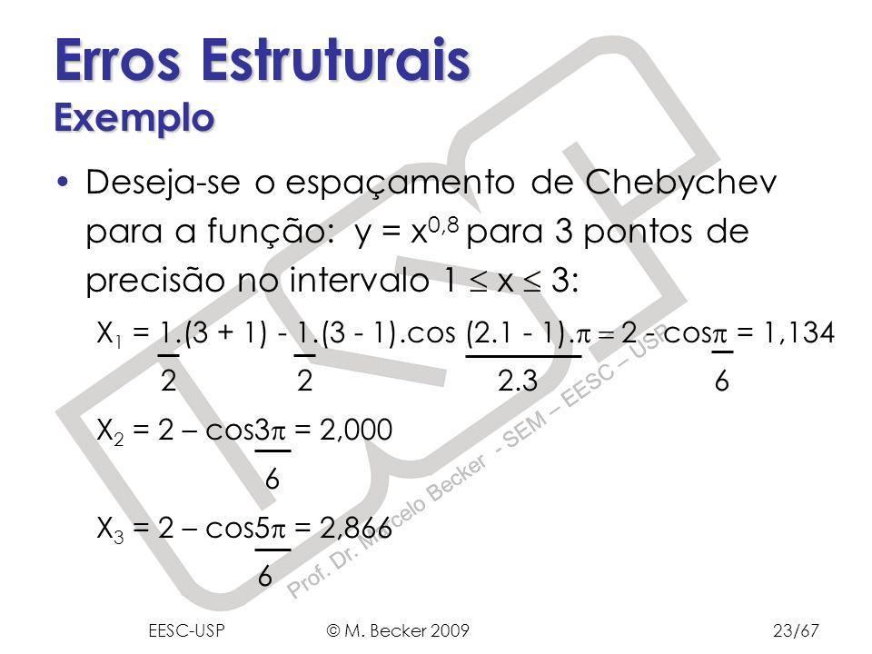 Prof. Dr. Marcelo Becker - SEM – EESC – USP Erros Estruturais Exemplo Deseja-se o espaçamento de Chebychev para a função: y = x 0,8 para 3 pontos de p