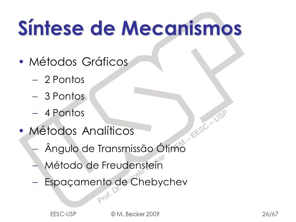 Prof. Dr. Marcelo Becker - SEM – EESC – USP Síntese de Mecanismos Métodos Gráficos – 2 Pontos – 3 Pontos – 4 Pontos Métodos Analíticos – Ângulo de Tra