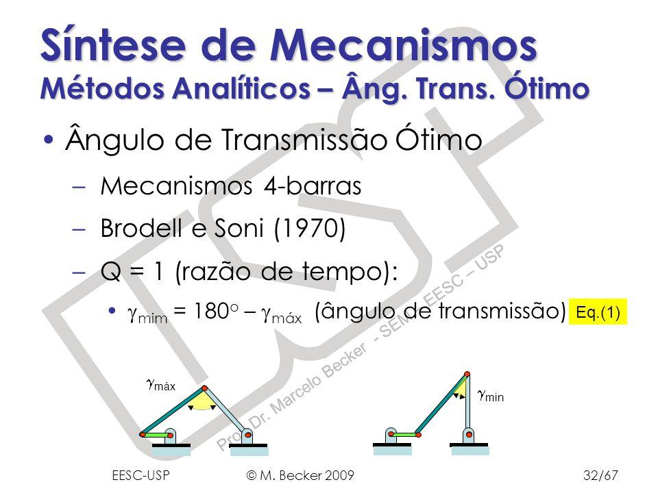 Prof. Dr. Marcelo Becker - SEM – EESC – USP Síntese de Mecanismos Métodos Analíticos – Âng. Trans. Ótimo Ângulo de Transmissão Ótimo – Mecanismos 4-ba