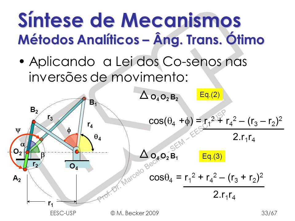 Prof. Dr. Marcelo Becker - SEM – EESC – USP Aplicando a Lei dos Co-senos nas inversões de movimento: Síntese de Mecanismos Métodos Analíticos – Âng. T