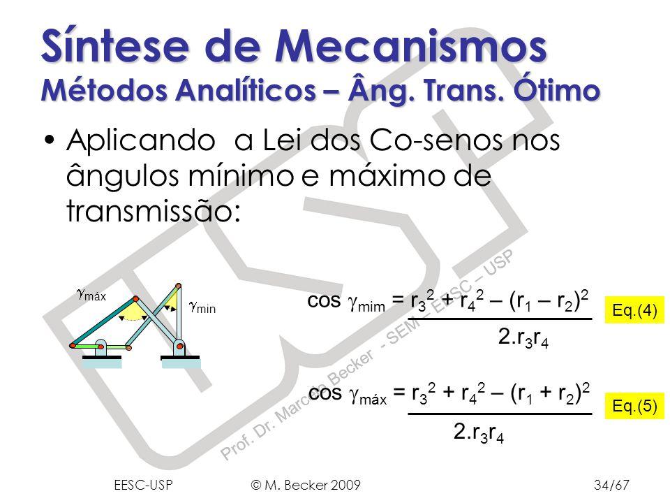 Prof. Dr. Marcelo Becker - SEM – EESC – USP min Aplicando a Lei dos Co-senos nos ângulos mínimo e máximo de transmissão: Síntese de Mecanismos Métodos