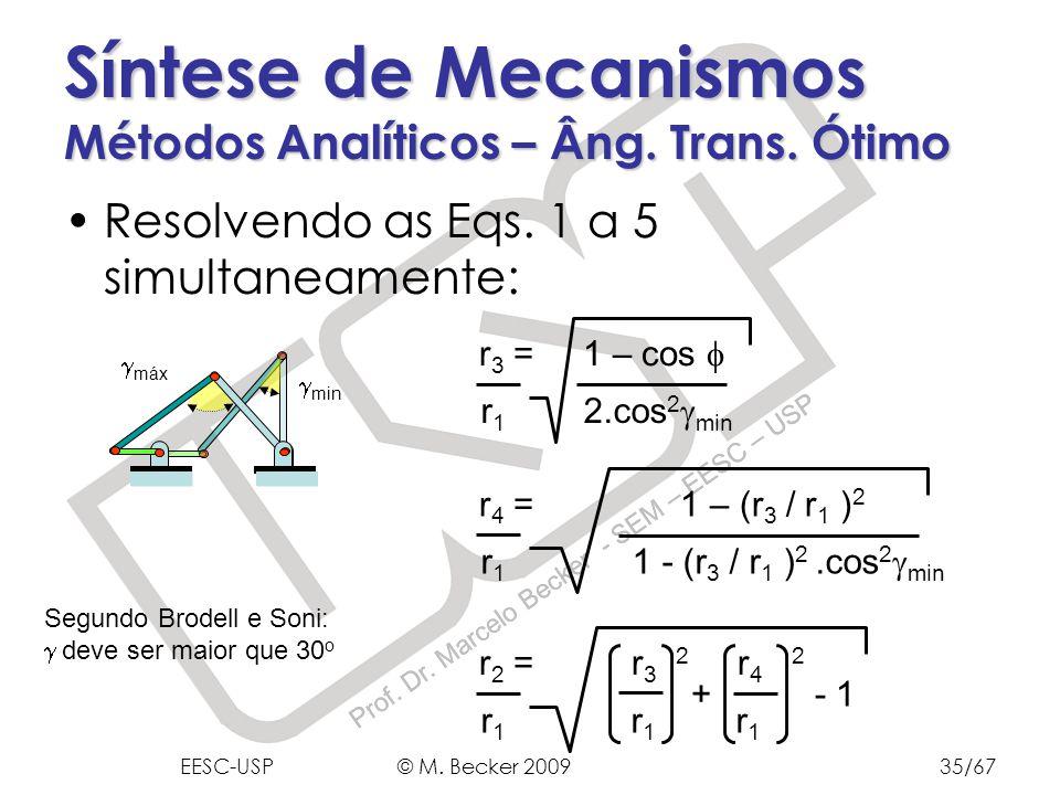Prof. Dr. Marcelo Becker - SEM – EESC – USP min Resolvendo as Eqs. 1 a 5 simultaneamente: Síntese de Mecanismos Métodos Analíticos – Âng. Trans. Ótimo