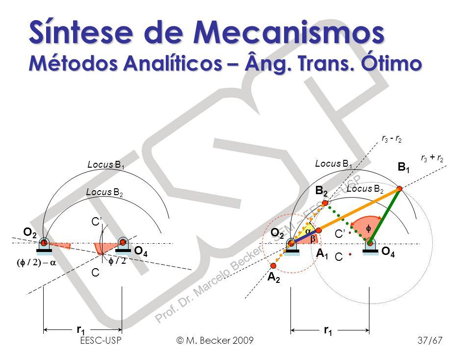 Prof. Dr. Marcelo Becker - SEM – EESC – USP Síntese de Mecanismos Métodos Analíticos – Âng. Trans. Ótimo r1r1 O4O4 O2O2 C C Locus B 2 Locus B 1 r1r1 O
