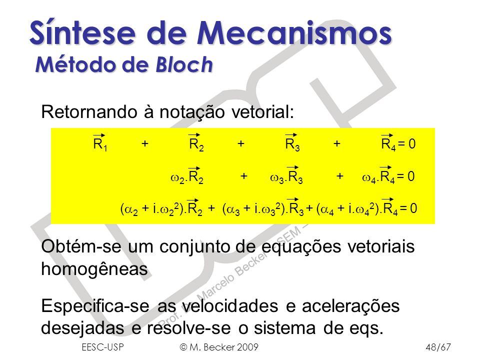 Prof. Dr. Marcelo Becker - SEM – EESC – USP Síntese de Mecanismos Método de Bloch Retornando à notação vetorial: Obtém-se um conjunto de equações veto