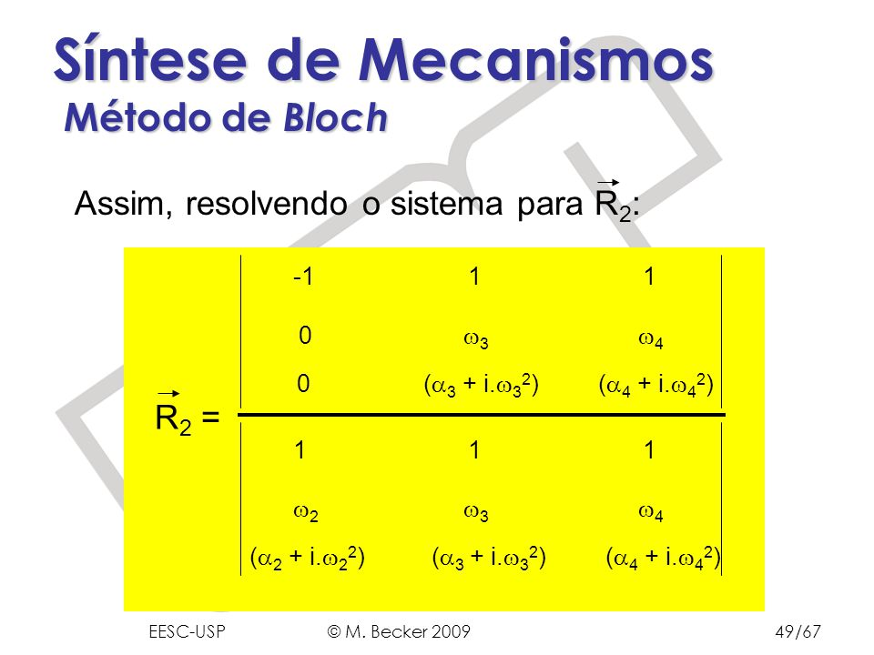 Prof. Dr. Marcelo Becker - SEM – EESC – USP Síntese de Mecanismos Método de Bloch Assim, resolvendo o sistema para R 2 : 0 ( 3 + i. 3 2 ) ( 4 + i. 4 2