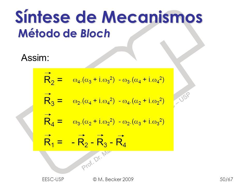 Prof. Dr. Marcelo Becker - SEM – EESC – USP Síntese de Mecanismos Método de Bloch Assim: 4.( 3 + i. 3 2 ) - 3.( 4 + i. 4 2 ) R 2 = 2.( 4 + i. 4 2 ) -