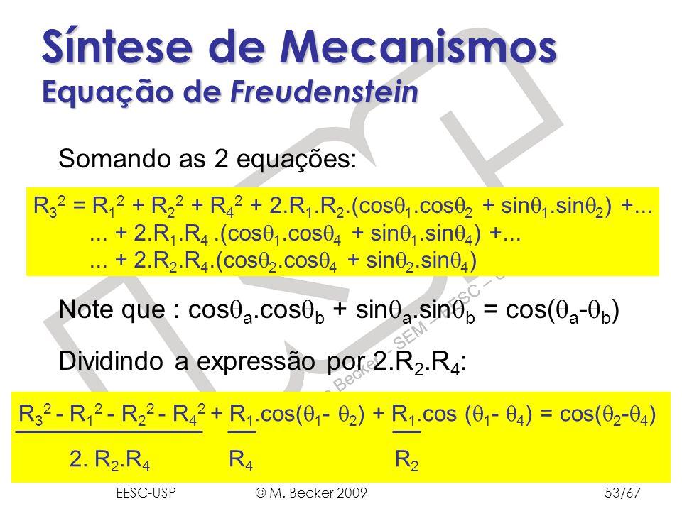 Prof. Dr. Marcelo Becker - SEM – EESC – USP Síntese de Mecanismos Equação de Freudenstein Somando as 2 equações: Note que : cos a.cos b + sin a.sin b