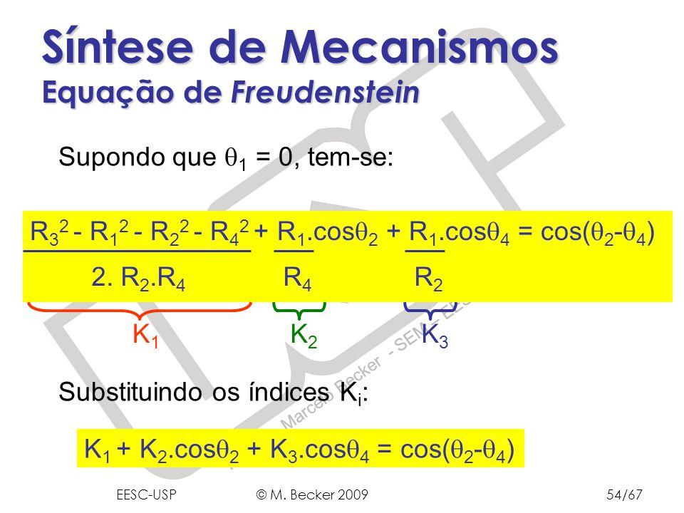 Prof. Dr. Marcelo Becker - SEM – EESC – USP Síntese de Mecanismos Equação de Freudenstein Substituindo os índices K i : R 3 2 - R 1 2 - R 2 2 - R 4 2