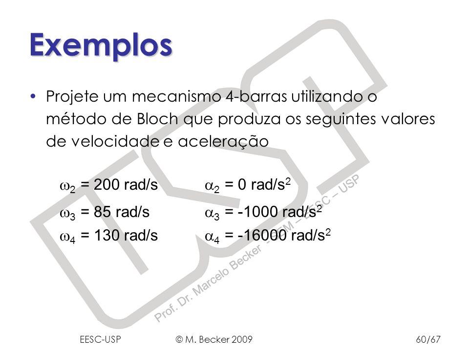Prof. Dr. Marcelo Becker - SEM – EESC – USP Exemplos Projete um mecanismo 4-barras utilizando o método de Bloch que produza os seguintes valores de ve