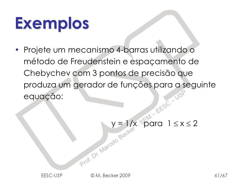 Prof. Dr. Marcelo Becker - SEM – EESC – USP Exemplos Projete um mecanismo 4-barras utilizando o método de Freudenstein e espaçamento de Chebychev com