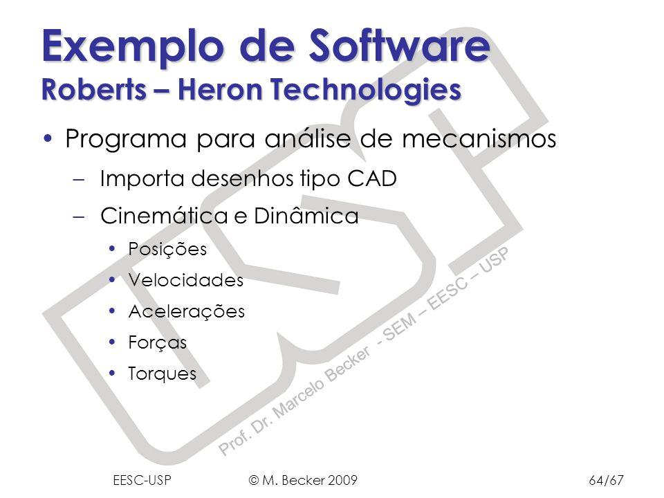 Prof. Dr. Marcelo Becker - SEM – EESC – USP Exemplo de Software Roberts – Heron Technologies Programa para análise de mecanismos – Importa desenhos ti