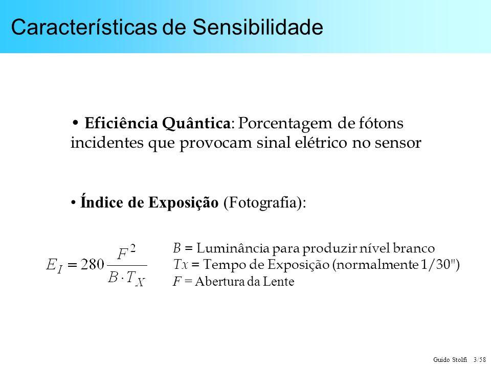 Guido Stolfi 3/58 Características de Sensibilidade Eficiência Quântica : Porcentagem de fótons incidentes que provocam sinal elétrico no sensor Índice