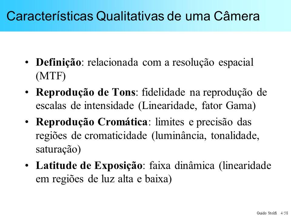 Guido Stolfi 4/58 Características Qualitativas de uma Câmera Definição: relacionada com a resolução espacial (MTF) Reprodução de Tons: fidelidade na r