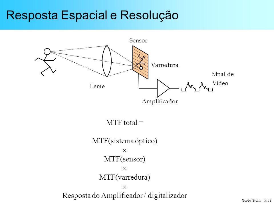 Guido Stolfi 5/58 Resposta Espacial e Resolução MTF total = MTF(sistema óptico) MTF(sensor) MTF(varredura) Resposta do Amplificador / digitalizador Le