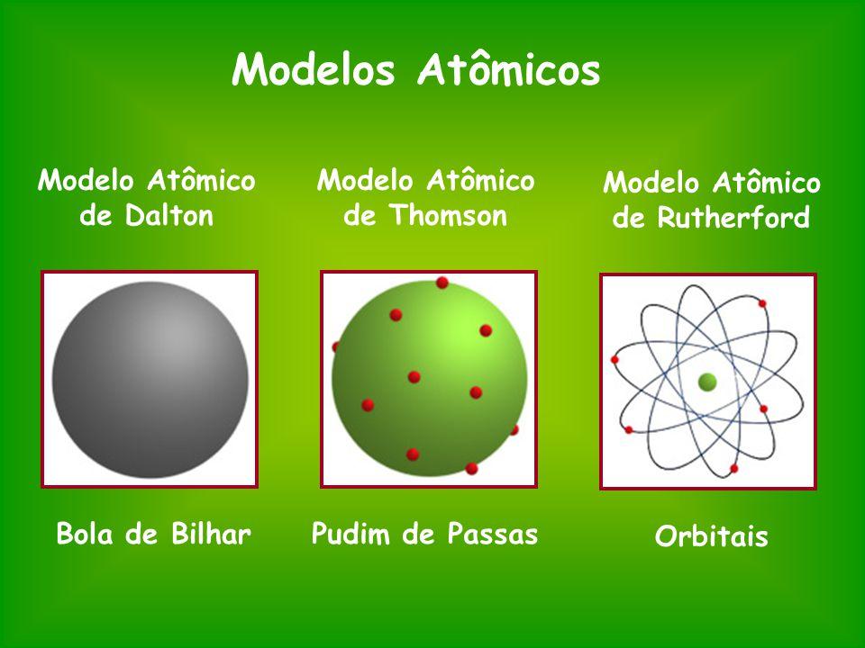 Modelo Atômico de Dalton Modelo Atômico de Thomson Modelo Atômico de Rutherford Bola de BilharPudim de Passas Orbitais Modelos Atômicos