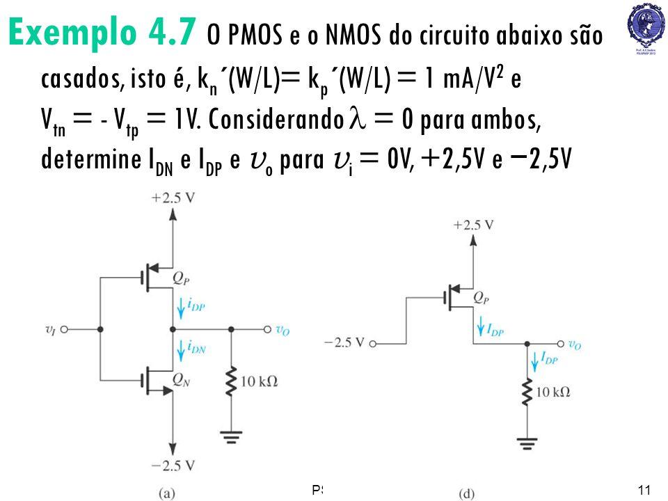 PSI222311 Exemplo 4.7 O PMOS e o NMOS do circuito abaixo são casados, isto é, k n ´(W/L)= k p ´(W/L) = 1 mA/V 2 e V tn = - V tp = 1V. Considerando = 0